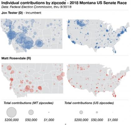 A map of the money pouring into the Tester-Rosendale senate race. Donors in Gallatin County—particularly the 59715 and 59718 zip codes—have given at high levels to both candidates.