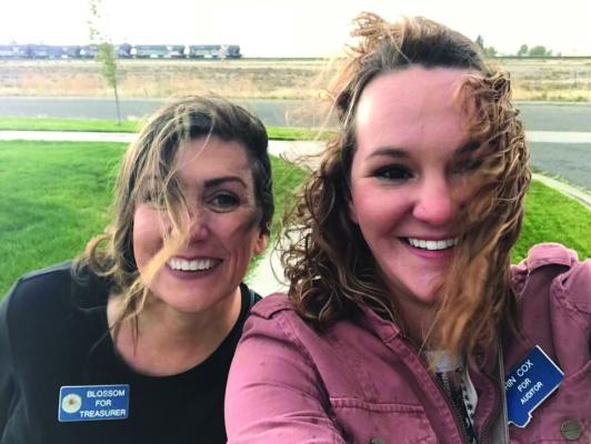 County Auditor Jennifer Blossom (left) is running for county treasurer. She often campaigns with Deputy County Auditor Erin Cox (right), who is running to take Blossom's seat.