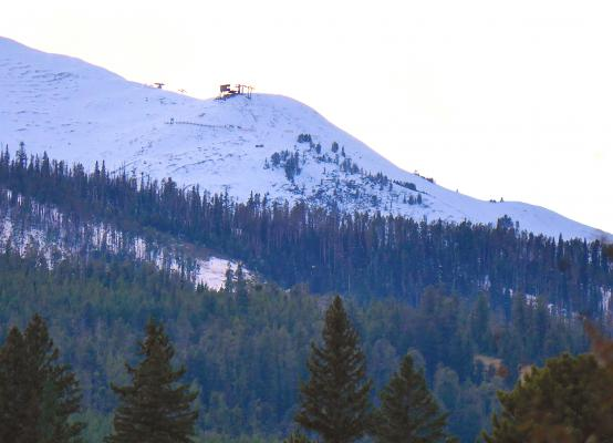"""Where it all began: The Challenger Chairlift, pictured on Oct. 12, 2018 with early season snow cover. On Dec. 11, 2015, Bozeman attorney John Meyer alleges Big Sky Resort's negligence led to his severe crash onto a """"cat walk"""" in terrain near Challenger."""