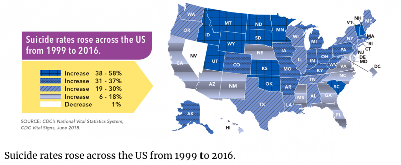 As many landlocked western states did, Montana saw a 38 percent increase in suicide between 1999 and 2016. Nevada was the only state in the U.S. to see a decrease, albeit a small one.
