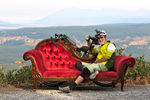 John Flach takes a break at the Gravel Pursuit in Island Park, a 125-mile bike race with 10,000 vertical feet.