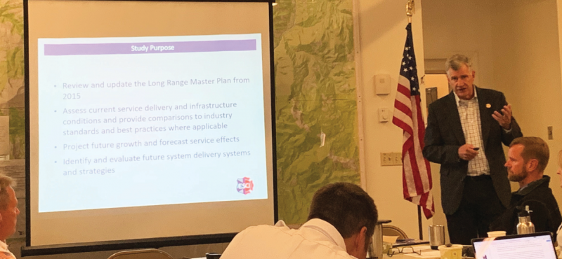 Lane Wintermute addresses the BSFD board and explains findings from the Long Range Master Plan. PHOTO BY JANA BOUNDS
