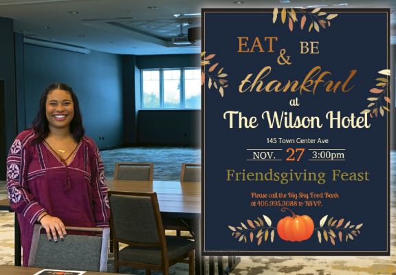 Christine Lugo-Yergensen stands in the room that will be transformed on Nov. 27 to house the Friendsgiving Feast. Photo by Jana Bounds