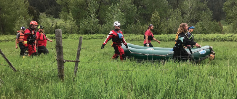 Gallatin County Sheriff's Search and Rescue had 25 rescuers respond to an incident on the Mad Mile over the weekend which left one rafter injured. PHOTO COURTESY GALLATIN COUNTY