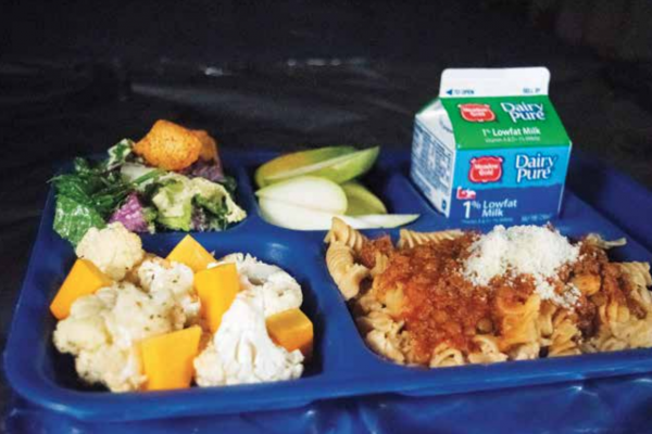 """""""It's really worked here. Since I've been here, we've increased the amount of kids who eat lunch [at school] from about 20% to 70%,"""" Hurlbut said of the school food program. This photo is of this year's runner-up local lunch. PHOTO COURTESY OF LINDSIE HURLBUT"""