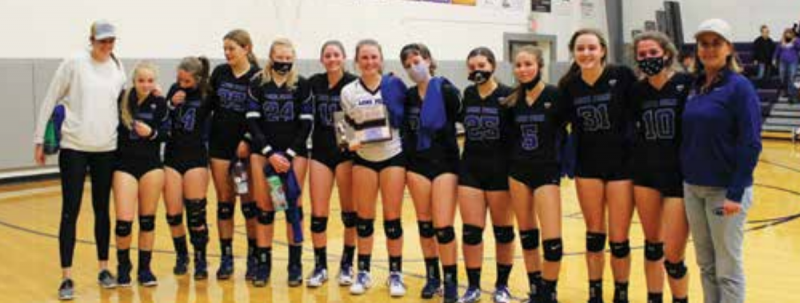 The 2020 LPHS varsity volleyball team made school history as the most successful LPHS volleyball team to date. The team secured third place in the 12C Conference and third place in Divisionals. PHOTO COURTESY MICHELLE HORNING