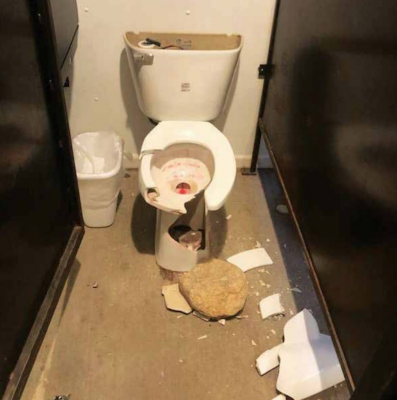 Two toilets were destroyed in the vandalism. The full cost to repairs may not be known until water is turned back on. PHOTO COURTESY ADAM JOHNSON