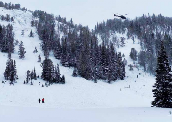 Gallatin County Search and Rescue volunteers responding to the avalanche incident at Beehive Basin on Valentine's Day. PHOTO COURTESY OF GALLATIN NATIONAL FOREST AVALANCHE CENTER