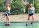The Big Horn doubles team—KP Hoffman and Solae Swenson—practicing in Big Sky before winning divisionals in Belgrade and then heading to the state finals in Great Falls.