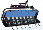 """Ramcharger 8's roomy bucket seats will zoom skiers and snowboarders up Andesite Mountain in comfort, shortening the current ride by two-thirds. According to Boyne Resorts President Stephen Kircher, each chair weighs 2,200 pounds and """"costs more than a Porsche."""" Photo Courtesy Big Sky Resort"""