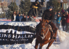 """Anna Jessen pulls her husband, Pete, in a recent skijoring competition. The two got into the sport about a year ago and along with a handful of other enthusiasts are responsible for bringing a new event to Big Sky. """"We were always looking for ways to keep our horses busy,"""" Pete said. """"Most horses are in winter pasture this time of year, but we wanted to keep them and ourselves busy."""""""