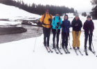"""(L-R) Dr. Jeff Strickler, Maya Johnsen Livvy Milner, LPHS professor Patty Hamblin and Noelle Miller. """"An ice dam broke loose and cleared ice and snow in a wide swath – the students discussed this process on the land,"""" Rick Graetz explained."""