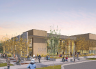 A projection of the front corner of the Big Sky Community Center, set to break ground in July. PHOTO COURTESY BSCO