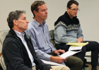 BSCWSD financial officer Terry Smith and AE2S project manager Scott Buecker are questioned by the Resort Tax board regarding the wastewater treatment plant expansion. PHOTO BY JANA BOUNDS